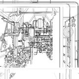 Équipement industriel. Fil-cadre  Images libres de droits
