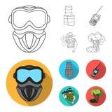 Équipement, masque, baril, barricade Icônes réglées de collection de Paintball dans le contour, actions plates de symbole de vect Illustration de Vecteur