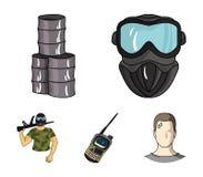 Équipement, masque, baril, barricade Les icônes réglées de collection de Paintball dans le style de bande dessinée dirigent le We Illustration Libre de Droits