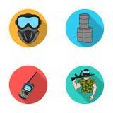 Équipement, masque, baril, barricade Les icônes réglées de collection de Paintball dans le style plat dirigent le Web courant d'i Photos stock