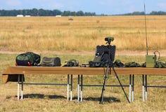 Équipement militaire et équipement militaire pour l'affichage photographie stock libre de droits
