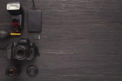 Équipement personnel divers pour le photographe Photographie stock libre de droits