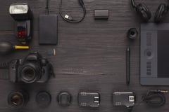 Équipement personnel divers pour le photographe Photo libre de droits