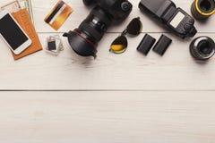 Équipement personnel divers pour le photographe Photo stock