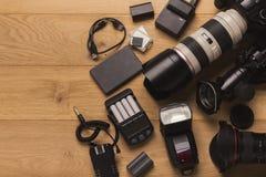 Équipement personnel divers pour le photographe Image libre de droits