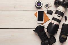 Équipement personnel divers pour le photographe Images libres de droits