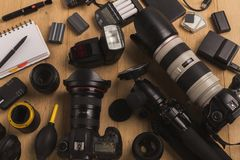 Équipement personnel divers pour le photographe Image stock