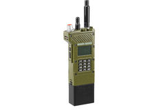 Équipement portatif par radio militaire, vue étroite Photo stock