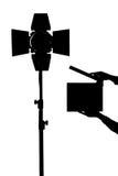 Équipement pour des studios de photo et la photographie de mode Silh noir Images stock