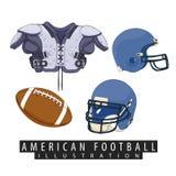 Équipement pour le football américain Images libres de droits
