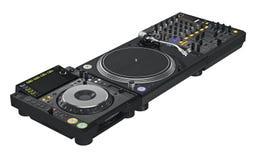 Équipement réglé de mélangeur du DJ de noir Image libre de droits