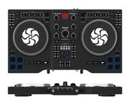 Équipement réglé moderne noir de mélangeur de plaque tournante du DJ rendu 3d Photo stock