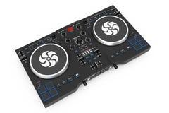 Équipement réglé moderne noir de mélangeur de plaque tournante du DJ rendu 3d Images libres de droits