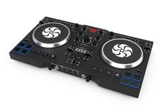 Équipement réglé moderne noir de mélangeur de plaque tournante du DJ rendu 3d Photos stock
