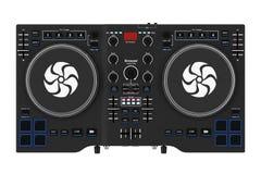 Équipement réglé moderne noir de mélangeur de plaque tournante du DJ rendu 3d Photographie stock libre de droits