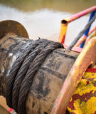 Équipement rouillé de bateau de corde de fil d'acier Image libre de droits