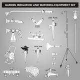 Équipements d'irrigation et d'arrosage réglés Photo stock