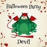 Équipements de costume de mode de crapauds de vert de Halloween Illustration de vecteur de style de bande dessinée d'isolement su illustration de vecteur