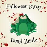 Équipements de costume de mode de crapauds de vert de Halloween Illustration de vecteur de style de bande dessinée d'isolement illustration stock