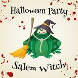 Équipements de costume de mode de crapauds de vert de Halloween Illustration de vecteur de style de bande dessinée sur le fond bl illustration libre de droits
