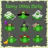 Équipements de costume de mode de crapauds de vert de Halloween Illustration de vecteur de style de bande dessinée sur le fond bl illustration de vecteur