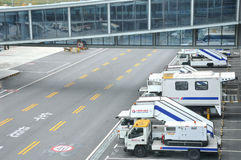 Équipements et véhicule, aéroport de Hongqiao, Changhaï Images libres de droits
