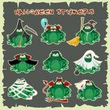 Équipements verts de costume de mode de crapauds d'autocollants de Halloween Illustration de vecteur de style de bande dessinée d illustration libre de droits