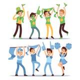 Équipes heureuses d'amusement de sports Ensemble de soutien de cri de vecteur de personnes de groupe illustration de vecteur
