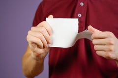 Équipez déchirer un morceau de papier en brochure blanche à moitié vide d'insecte Images libres de droits