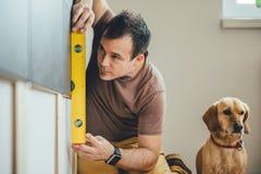 Équipez et son chien effectuant le travail de rénovation à la maison Photos stock