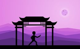 Équipez exécuter qigong ou exercices taijiquan le soir illustration de vecteur