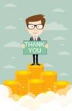Équipez fièrement la position avec tous nos remerciements sur l'argent énorme illustration libre de droits