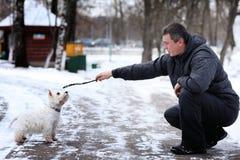 Équipez jouer avec une neige blanche d'hiver de chien images stock