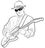 Équipez jouer la guitare électrique Photo stock