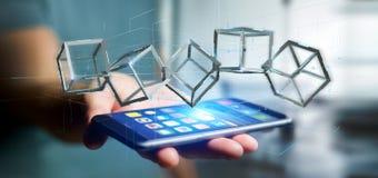 Équipez juger un cube en blockchain du rendu 3d d'isolement sur un backgro Photo stock