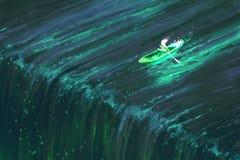 Équipez l'aviron dans le bateau vert rougeoyant près du bord de la cascade illustration de vecteur