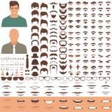 Équipez l'ensemble d'icône de pièces de visage, de tête de caractère, de yeux, de bouche, de lèvres, de cheveux et de sourcil