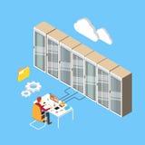 Équipez la base de données technique fonctionnante 3d de serveur principal de pièce de centre de traitement des données isométriq Photographie stock
