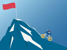Équipez la bicyclette d'équitation vers le haut et en essayant d'atteindre le dessus de la montagne Concept de l'équitation au su illustration de vecteur