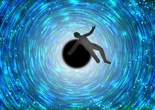 Équipez la chute dans le trou noir inconnu Photographie stock libre de droits