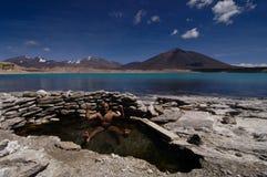Équipez la détente en sources thermales par le lac de glacier Image libre de droits