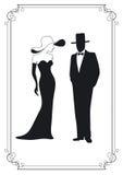 équipez la femme de silhouette illustration stock