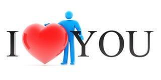 Équipez la figure retenant des mots rouges de coeur et d'amour Photos libres de droits