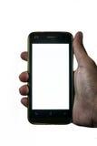 Équipez la main accrochant un téléphone portable sur le fond d'isolement Photographie stock
