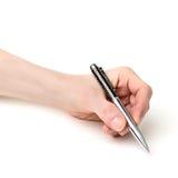 Équipez la main avec le stylo d'isolement sur le fond blanc photo stock