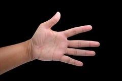 Équipez la main du ` s d'isolement sur le fond noir Photos libres de droits