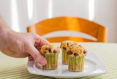Équipez la main prenant le petit pain de puce de chocolat au petit déjeuner Photographie stock libre de droits