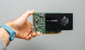 Équipez la main se tenant contre le vid puissant de NVIDIA GPU de fond gris photos stock