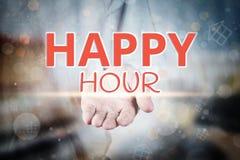 Équipez la main stockant le texte d'heure heureuse sur le Ba à la maison trouble de propriété d'icône Images libres de droits