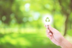 Équipez la main tenant l'ampoule rougeoyante avec réutilisent le symbole sur le fond de nature Photo stock